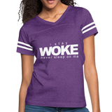 I Stay Woke Women's Vintage Sport T-Shirt - vintage purple/white