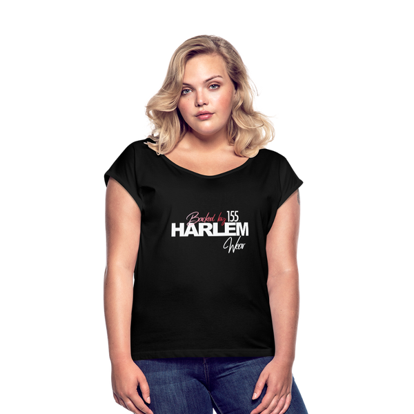 BACKED BY 155 HARLEM WEAR Women's Roll Cuff T-Shirt - black