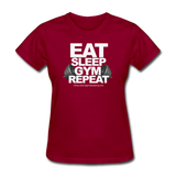 EAT SLEEP GYM REPEAT Women's T-Shirt - dark red