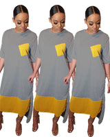 Womens O-neck Short Sleeve Loose Casual Dresses
