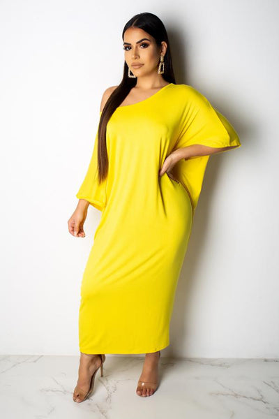 Solid yellow Casual Dress