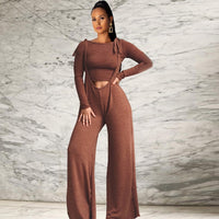 Autumn Two Pieces Solid Coffee Color Suit