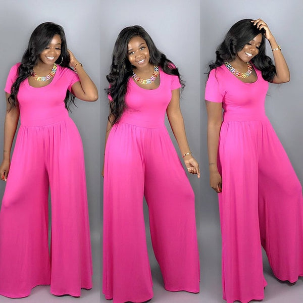 Womens  Loose Short Sleeve Wide Pants Jumpsuit