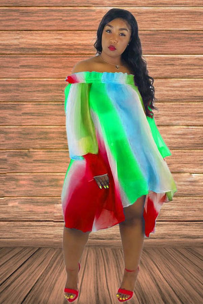 Off The Shoulder RAINBOW Dress
