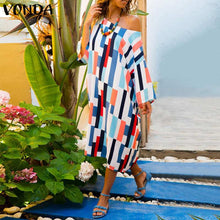 Load image into Gallery viewer, Women Striped Color Summer Dress