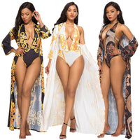 ( 2 Piece Set) Women Ethnic Printed  V Neck  Bodysuit  & Long Cover Up Beach  Sets