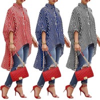 Women Loose Long Sleeve Striped Shirts