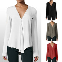 Long Sleeve Chiffon Blouse Double V-neck