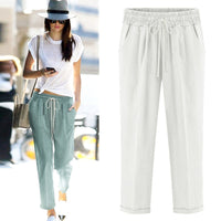 Women long cotton linen trousers