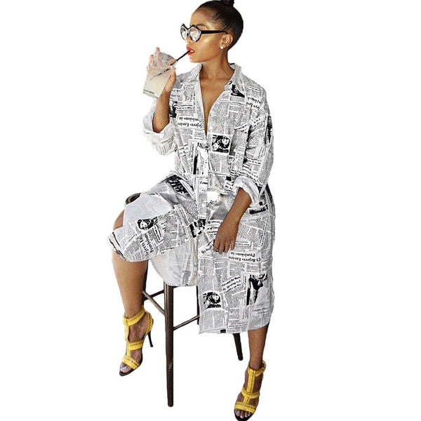 Newspaper Print Long Sleeve Shirt Dress Women Turn-Down Collar Button Up Blouse Dress Ladies Streetwear Oversized Shirt Dress