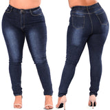 Women High Waist Skinny Pencil Blue Denim Pants