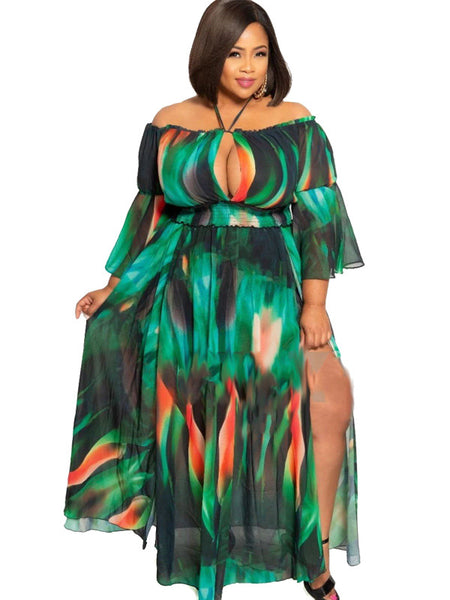Off Shoulder Printed Ruffled Green Maxi Dress