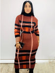 Leisure Color Block Knit Maxi Dresses
