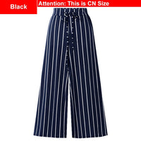 Elastic Waist Wide Leg Stripe Pants