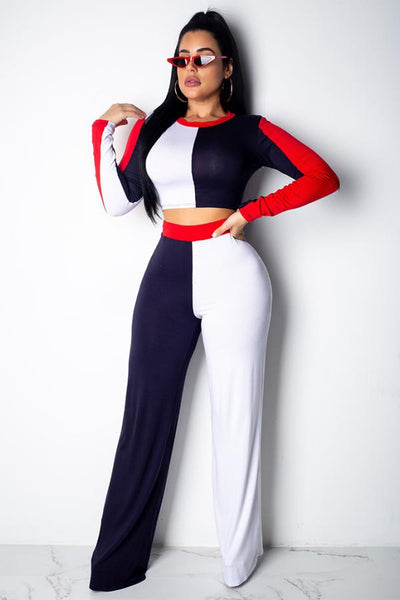 Red & Blue Two-piece Pants Set