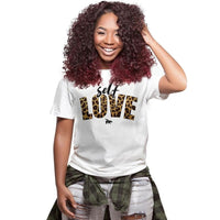 First Love Yourself Print Letter Women Tshirt