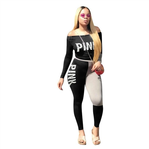 Pullover Women Pink Letter  Track Suit 2 Pieces