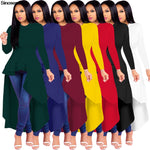 Womens Autumn  Long Sleeve O Neck Ruffles Dresses
