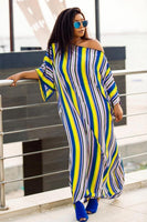 Striped asymmetrical Casual Dress