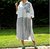 Striped Cotton Casual Loose  Shirt Dress