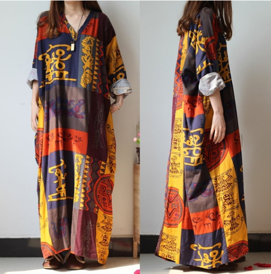 Oversized  Chinese Loose Long Maxi