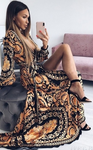 Elegant Boho Print Long Sleeve Floor Length Evening/ Party/ Maxi Beach DresS