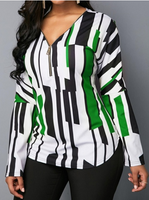 Woman Casual Zipper Long Sleeve Shirt Plus Size Top