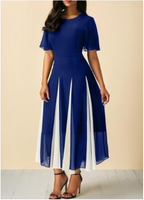 3 Color Summer Lady Pleated Maxi Dress Party Dress