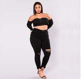 Womens Thick & Curvy High Elastic Jeans