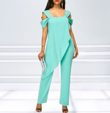 Thick and Curvy Womens Chiffon Jumpsuit