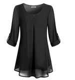 Women SEASONAL Casual Solid Color Loose Chiffon Blouse