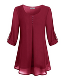 Women's  Solid Color V-neck  Loose Tops