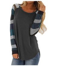 Load image into Gallery viewer, Women  Casual Blouse Striped  Tops Plus