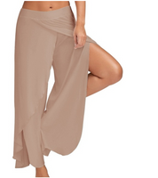 Women Casual High Slit Flowy Wide Leg Pants