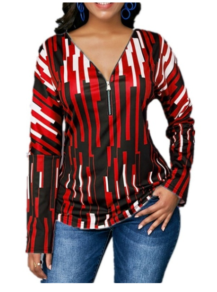 Womens Clothing Stripe Square Printing Long Sleeve