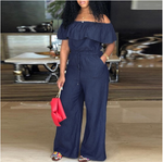 Women Off Shoulder  Casual  Wide Leg Jumpsuit