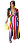 Multi-Color Polyester Casual Ankle-Length  Striped Dress
