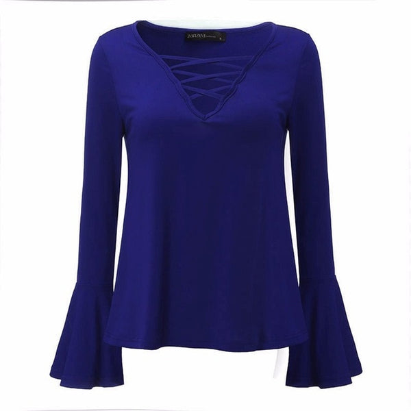 Elegant Hollow Long Sleeve Blouse