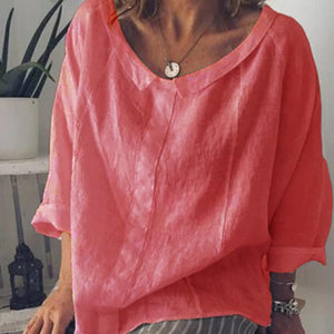 Women  Solid Lapel Linen Blouses Female