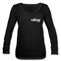 BACKEDBY155 HARLEM WEAR WOMENS Long Sleeve  V-Neck Flowy Tee - black