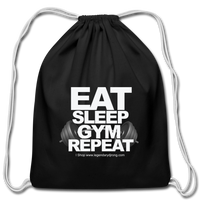 EAT SLEEP GYM REPEAT Cotton Drawstring Bag - black