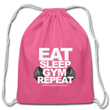 EAT SLEEP GYM REPEAT Cotton Drawstring Bag - pink