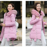 Women Hooded Long Down Coat   with Fur Collar