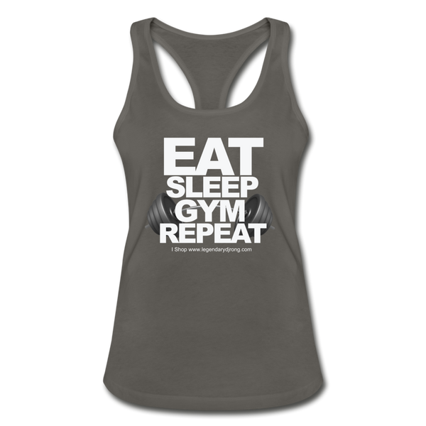 EAT SLEEP GYM REPEAT Women's Racerback Tank Top - charcoal