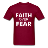 FAITH OVER FEAR T-Shirt - burgundy
