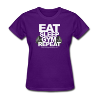 EAT SLEEP GYM REPEAT Women's T-Shirt - purple