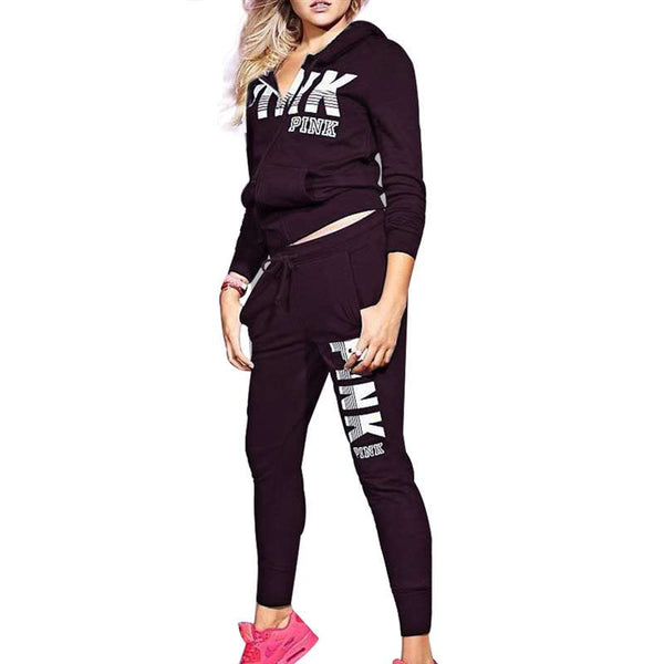 PINK Letter Print 2 Piece  Casual  Sweatshirt and Skinny Pants Suit