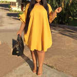 Yellow Casual  Elegant Ruffle Sleeve Dress