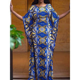Blue Elegant Loose Sleeve  Ethnic African Maxi Dress