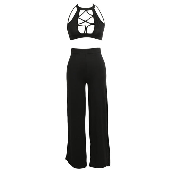 Women Two Pieces  Sleeveless Hollow out Crop Top
